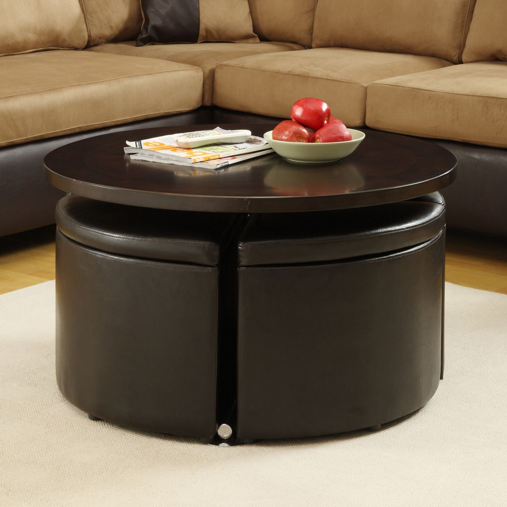 436-909 - Homebasica Adjustable Height Cocktail Table w/ Four Storage Ottomans