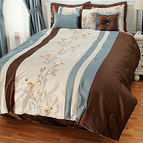 436-933 - North Shore Linens™ Floral Embroidery Seven-Piece Bedding Ensemble