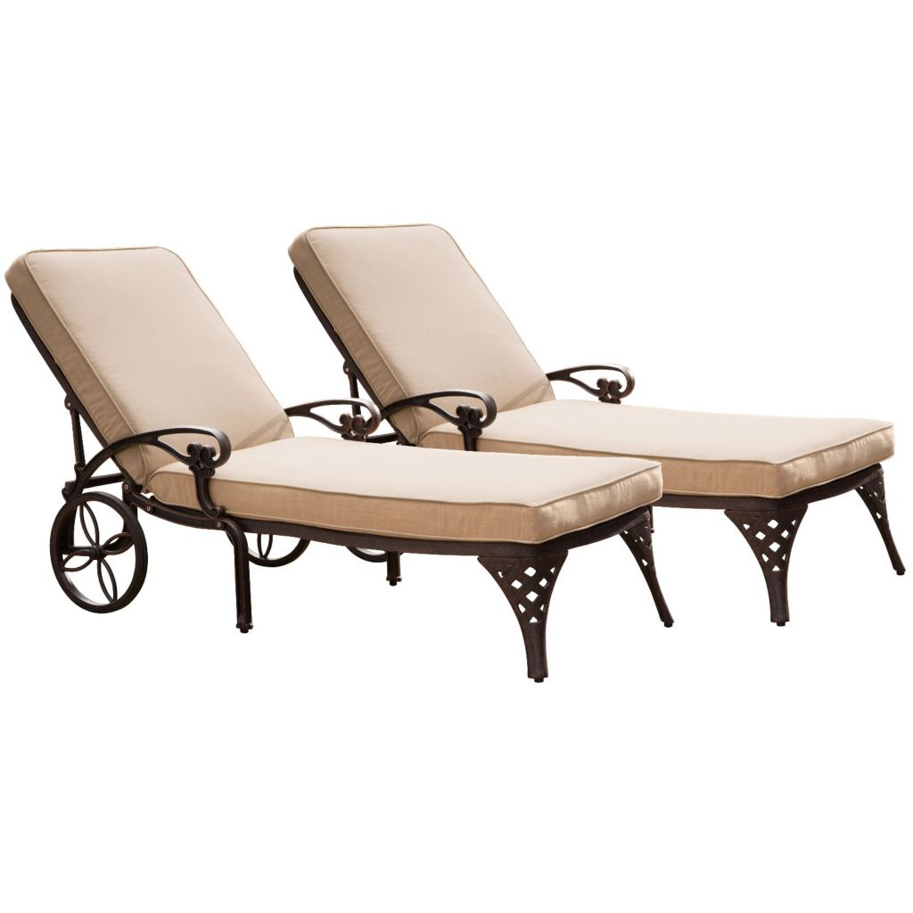 436-946 - Home Styles Set of Two Biscayne Chaise Lounge Chairs w/ Cushions