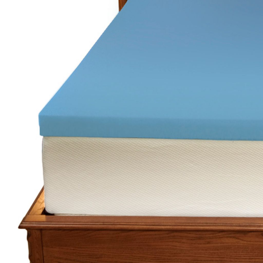"437-035 - Cozelle® 2"" Blue Gel Memory Foam Mattress Topper w/ Cover"