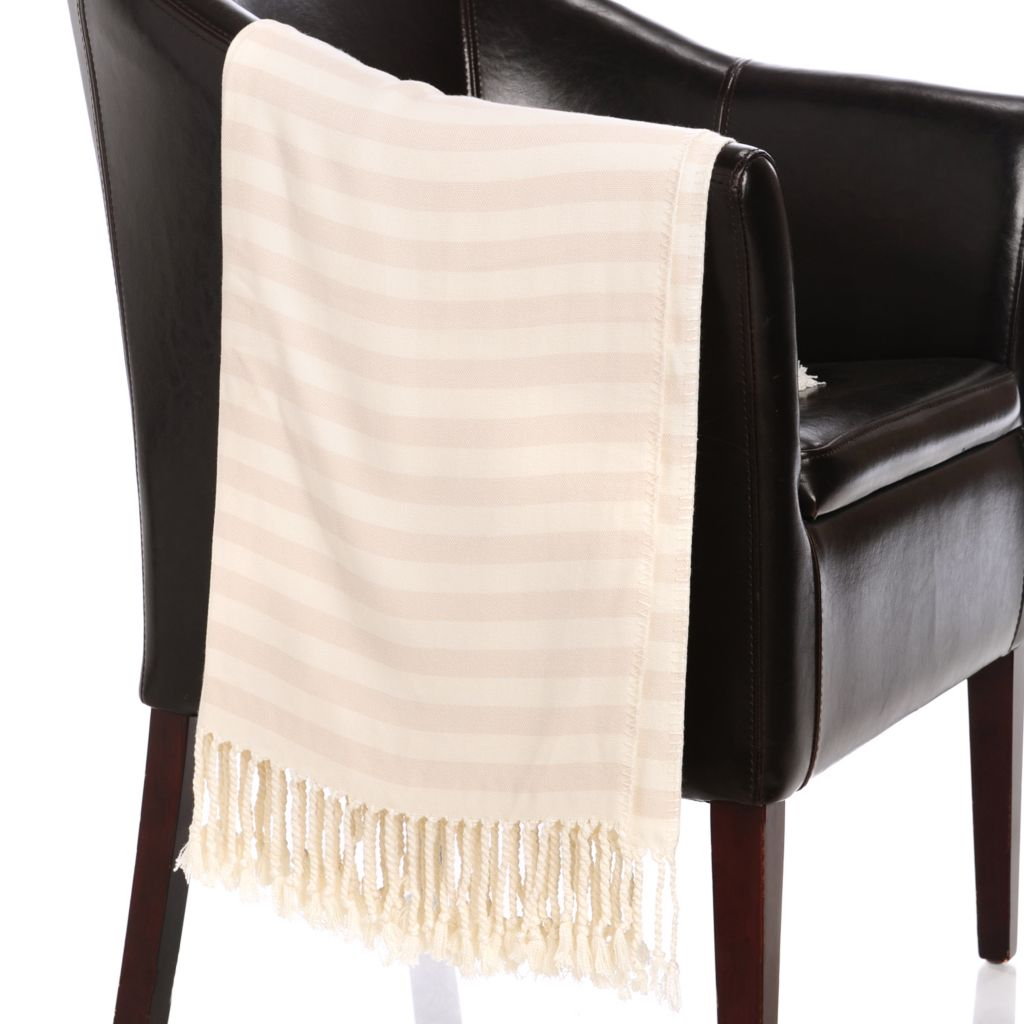 "437-123 - Grand Suites® 72"" x 52"" Viscose from Bamboo Striped Fringed Throw"
