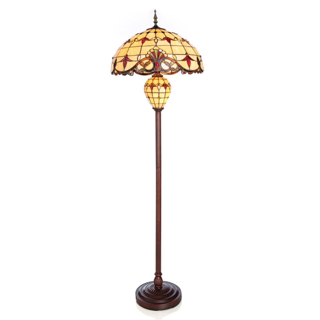 "437-151 - Tiffany-Style 66"" Double Lit Geometrical Stained Glass Floor Lamp"