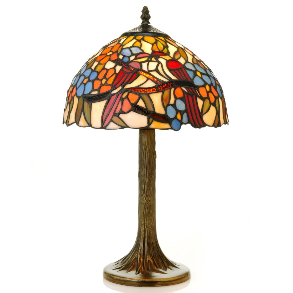 "437-153 - Tiffany-Style 19.25"" Blooming Lovebirds Stained Glass Table Lamp"