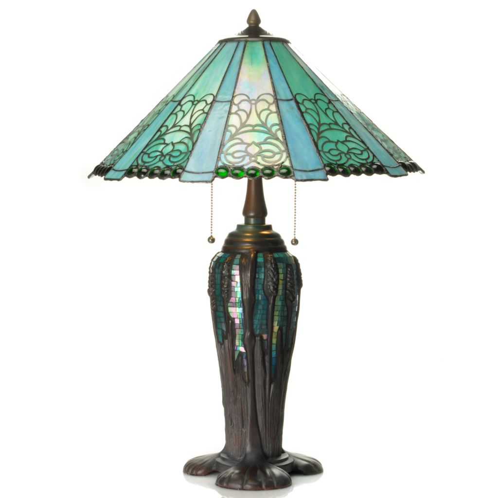 "437-162 - Tiffany-Style 28.5"" Blue Abby Geometrical Stained Glass Mosaic Table Lamp"