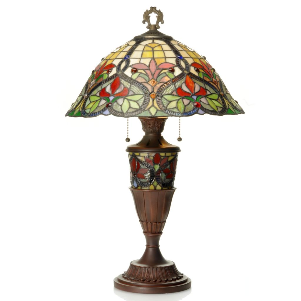 "437-166 - Tiffany-Style 27.5"" Cathedral Geometrical Stained Glass Table Lamp"