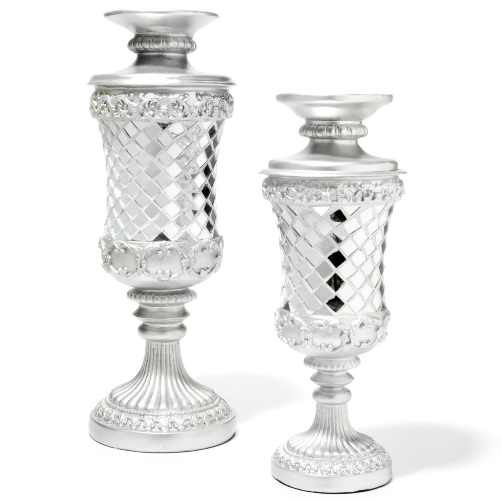 437-169 - Style at Home with Margie Set of Two Mirrored Mosaic Candle Holders