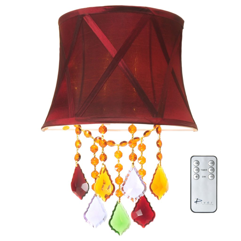 "437-171 - Style at Home with Margie 14"" Crystal Bead Wireless LED Wall Sconce"