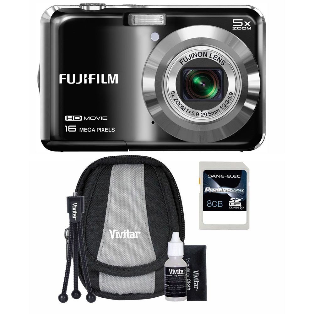 437-198 - Fujifilm FinePix 16MP Black Camera Starter Kit w/ Case, Tripod and 8GB SDHC Card