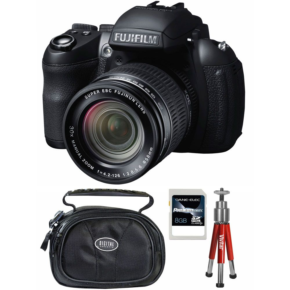 437-199 - Fujifilm FinePix 16MP CMOS Black Digital Camera Kit w/ Case, Tripod and 8GB SDHC Card