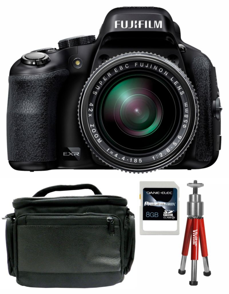 437-200 - Fujifilm FinePix HS50EXR 16MP Black Digital Camera w/ Case, Tripod and 8GB SDHC Card