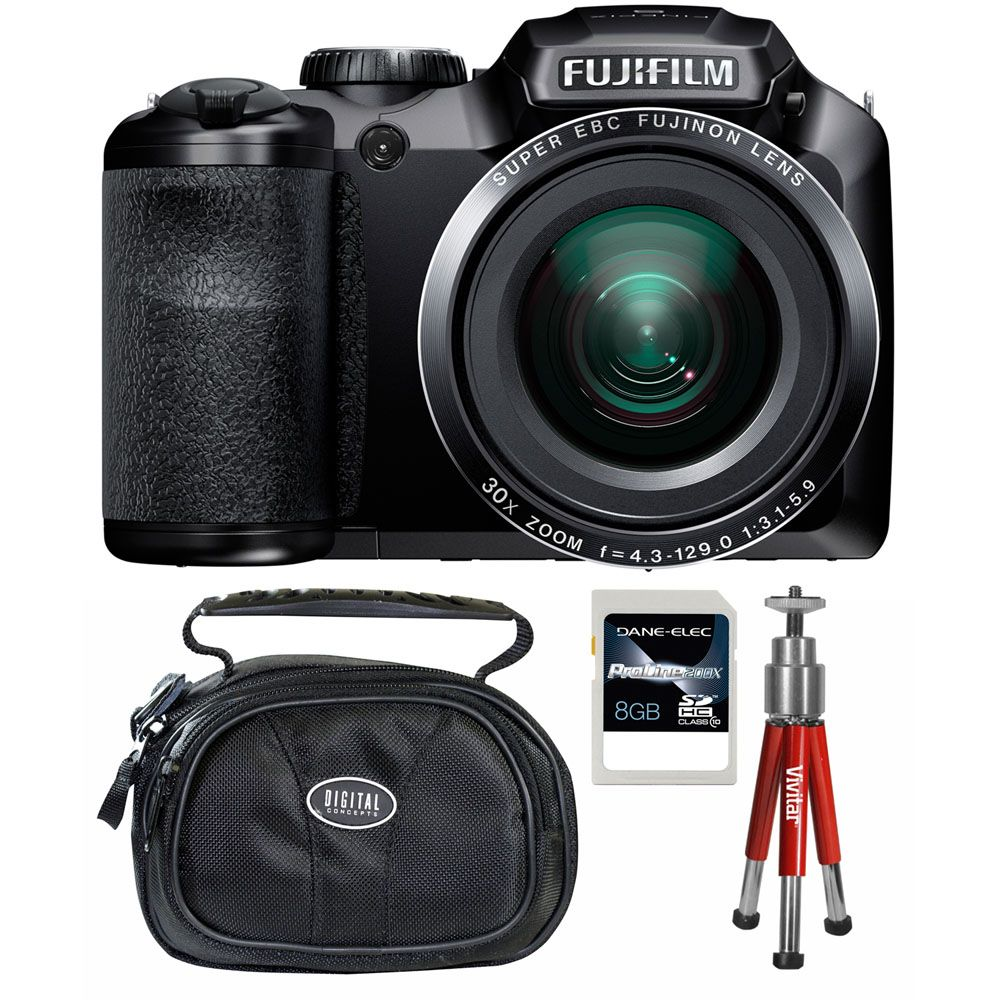 437-201 - Fujifilm FinePix S4800 16MP Black Digital Camera w/ Case, Tripod and 8GB SDHC Card