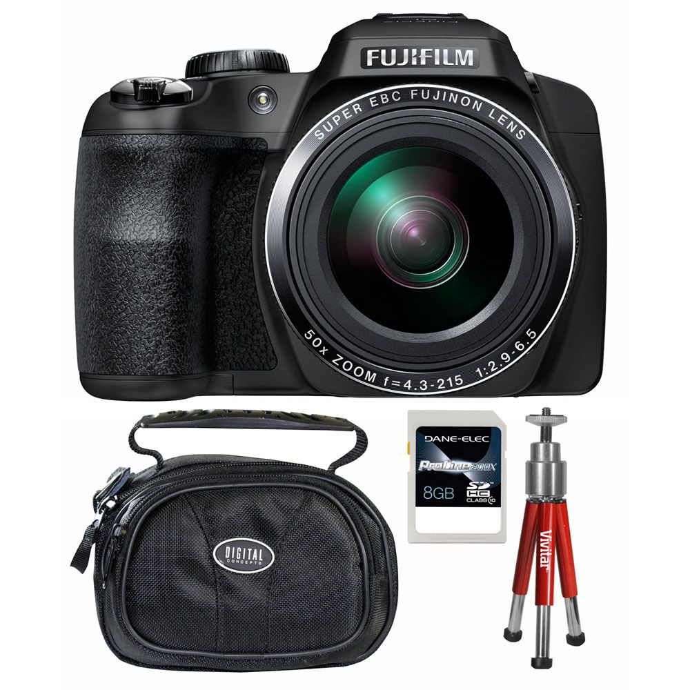 437-203 - Fujifilm FinePix SL1000 16MP Black Digital Camera w/ Case, Tripod and 8GB SDHC Card