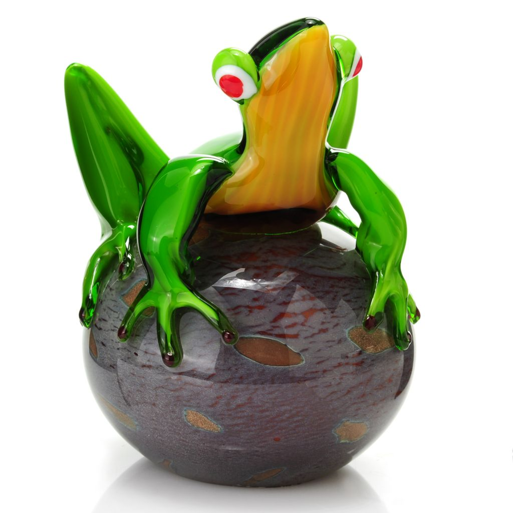 "437-270 - Favrile 6.75"" Hand-Blown Art Glass Frog"
