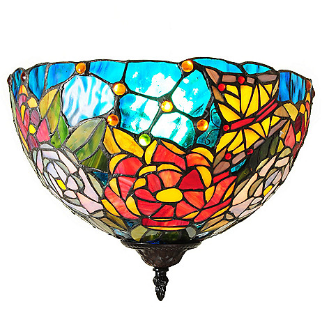 437-337 - Tiffany-Style 16.5'' Ivy Roses Stained Glass Wallchiere