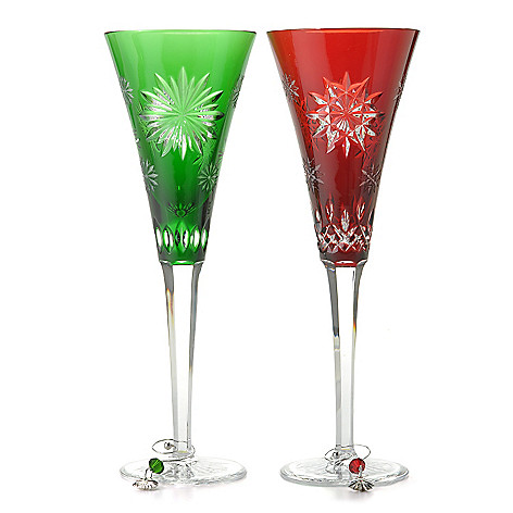 437-352 - Waterford® Crystal Snowflake Wishes 8 oz Ruby Joy & Emerald Courage Flute Set