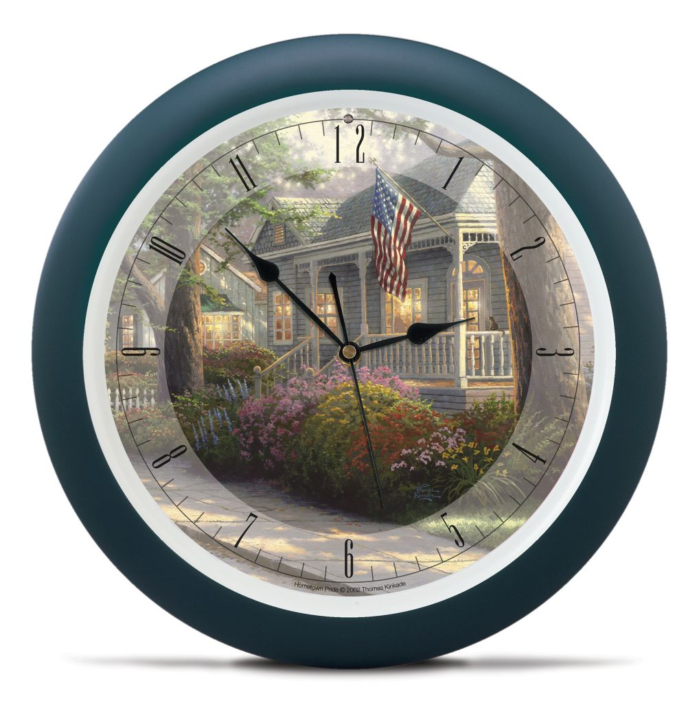 "437-361 - Thomas Kinkade Hometown Series 13.5"" Wall Clock w/ Four Soothing Nature Sounds"