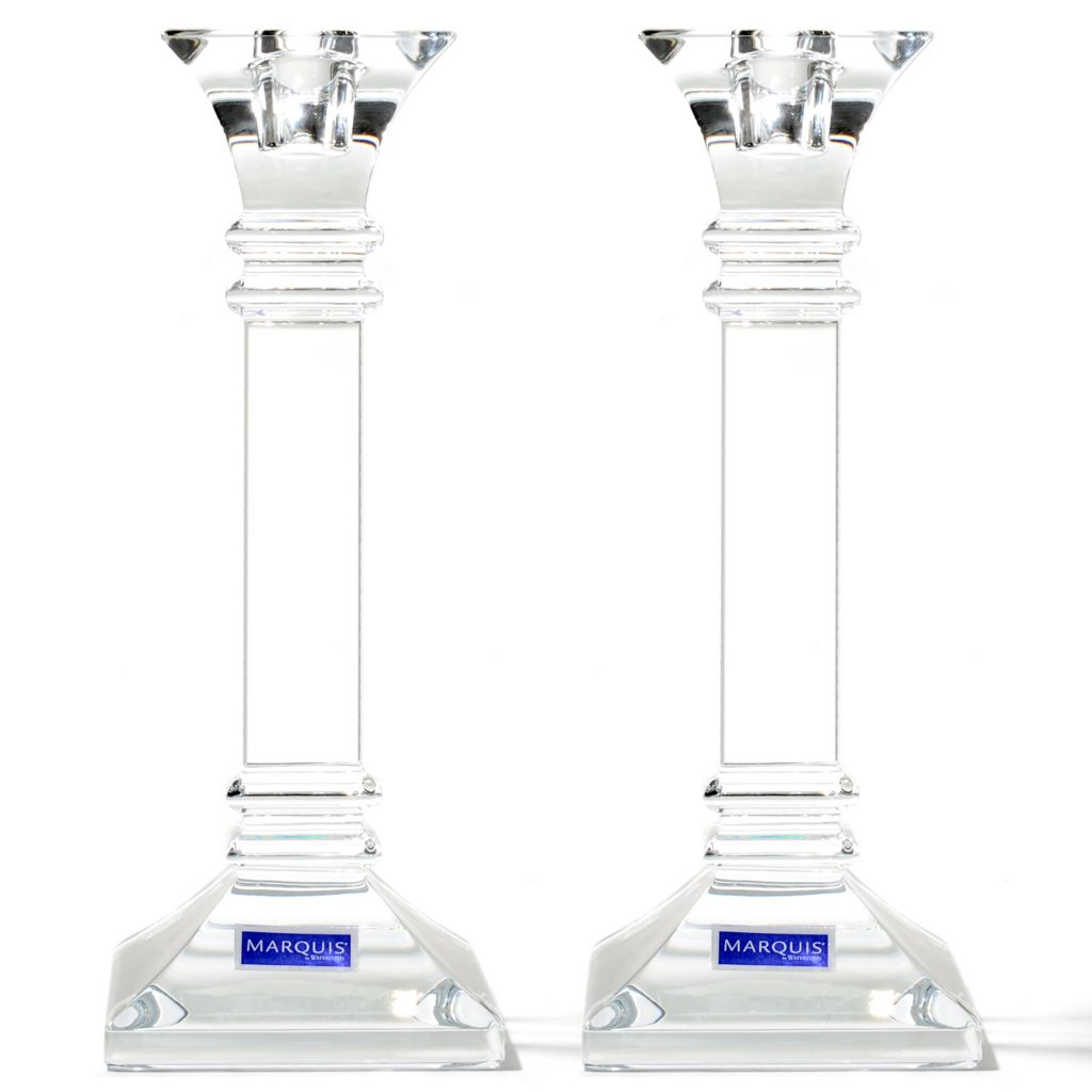 "437-448 - Marquis® by Waterford® Treviso 8"" Crystal Candlestick Holder Pair"