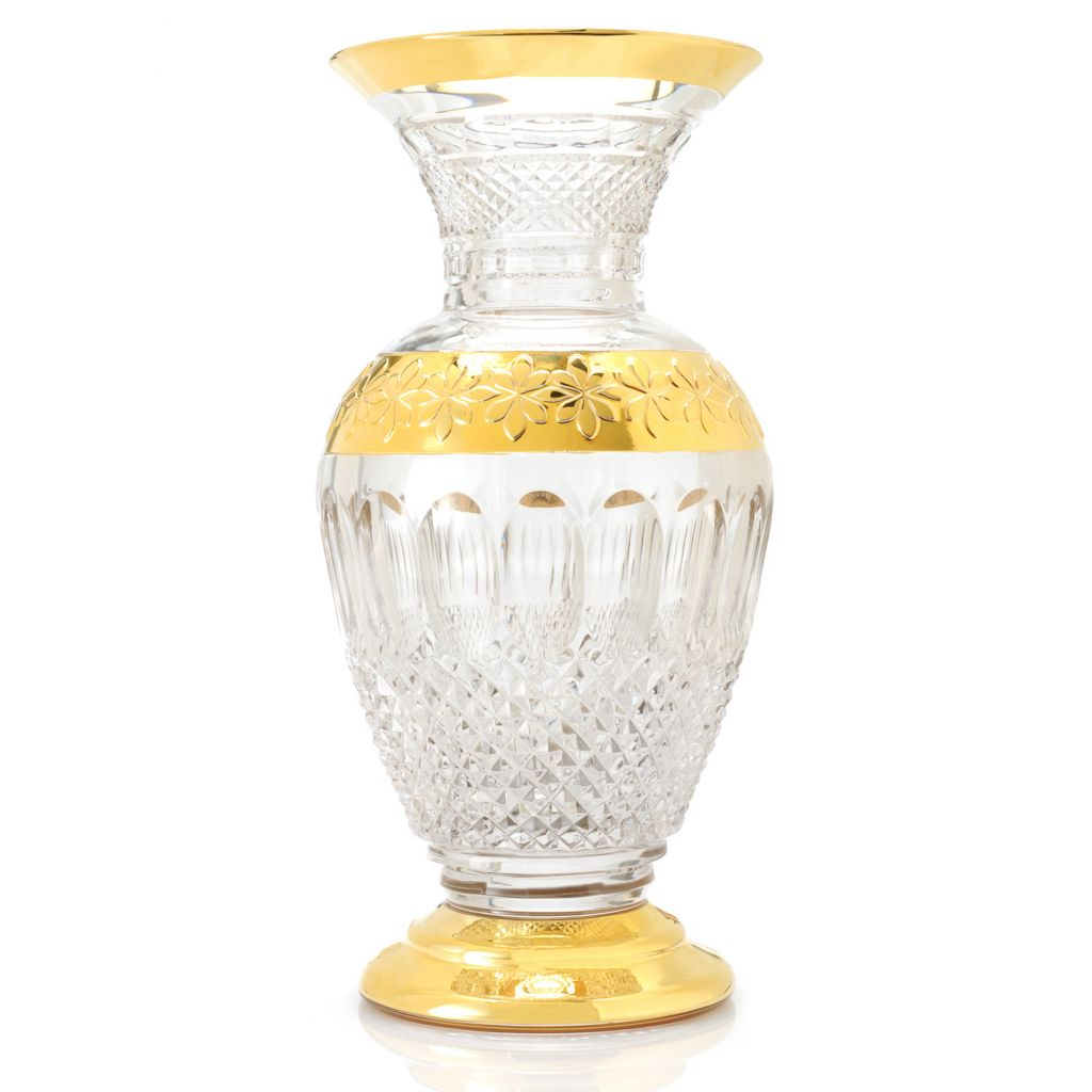"437-469 - House of Waterford® Colleen 60th Anniversary Limited Edition 12"" Crystal Gilded Vase"