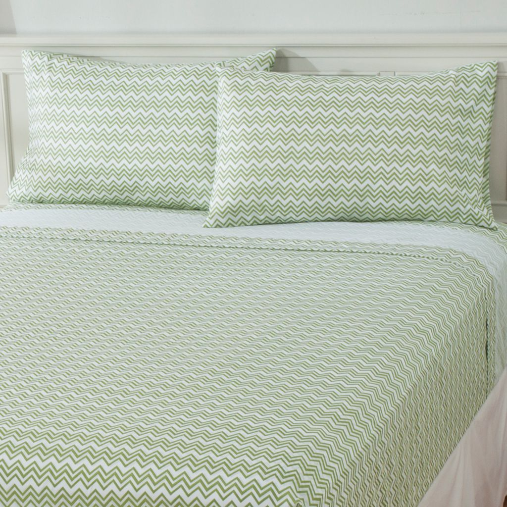 437-483 - Cozelle® Microfiber Chevron Print Four-Piece Sheet Set