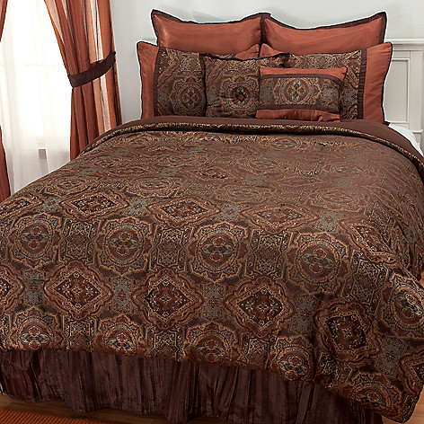 437-490 - North Shore Linens™  Eight-Piece Medallion Bedding Ensemble