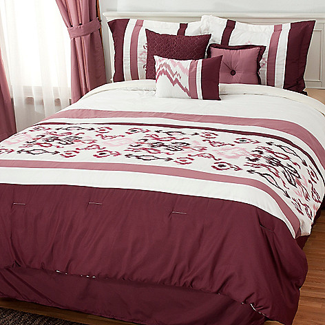 437-565 - North Shore Linens™ Floral Embroidered Seven-Piece Bedding Ensemble