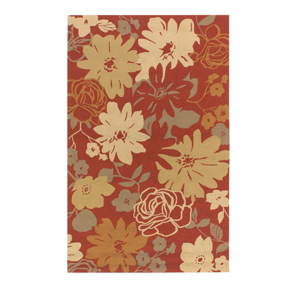 "437-602 - All Season Rugs ""Brighton Floral"" Hand-Hooked Stain/UV Resistant Indoor/Outdoor Rug"