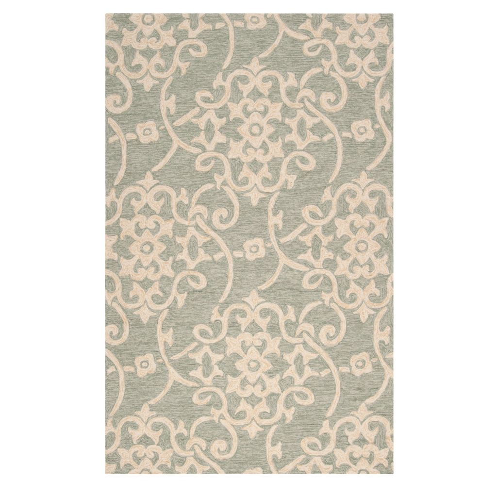 "437-604 - All Season Rugs ""Medallion"" Hand-Hooked Stain/UV Resistant Indoor/Outdoor Rug"