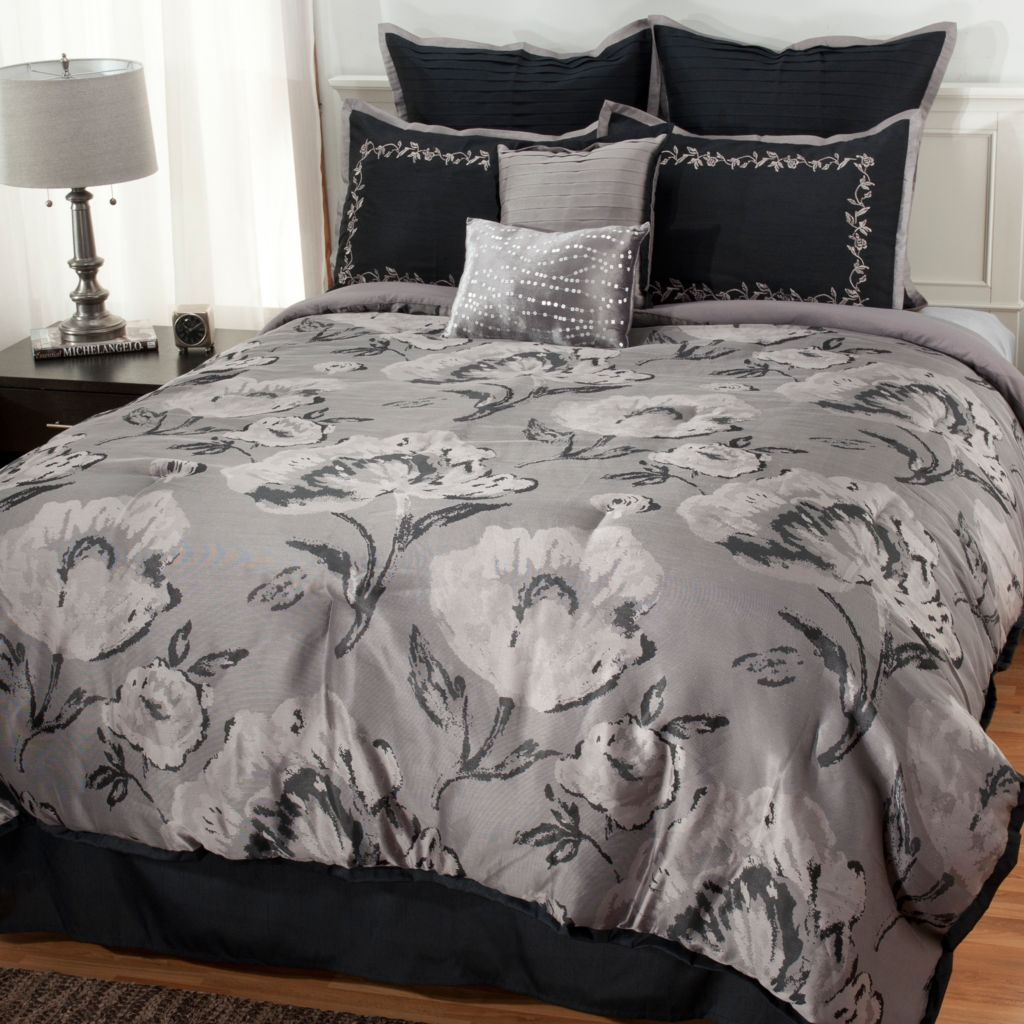 437-611 - North Shore Linens™ Floral Jacquard Eight-Piece Bedding Ensemble