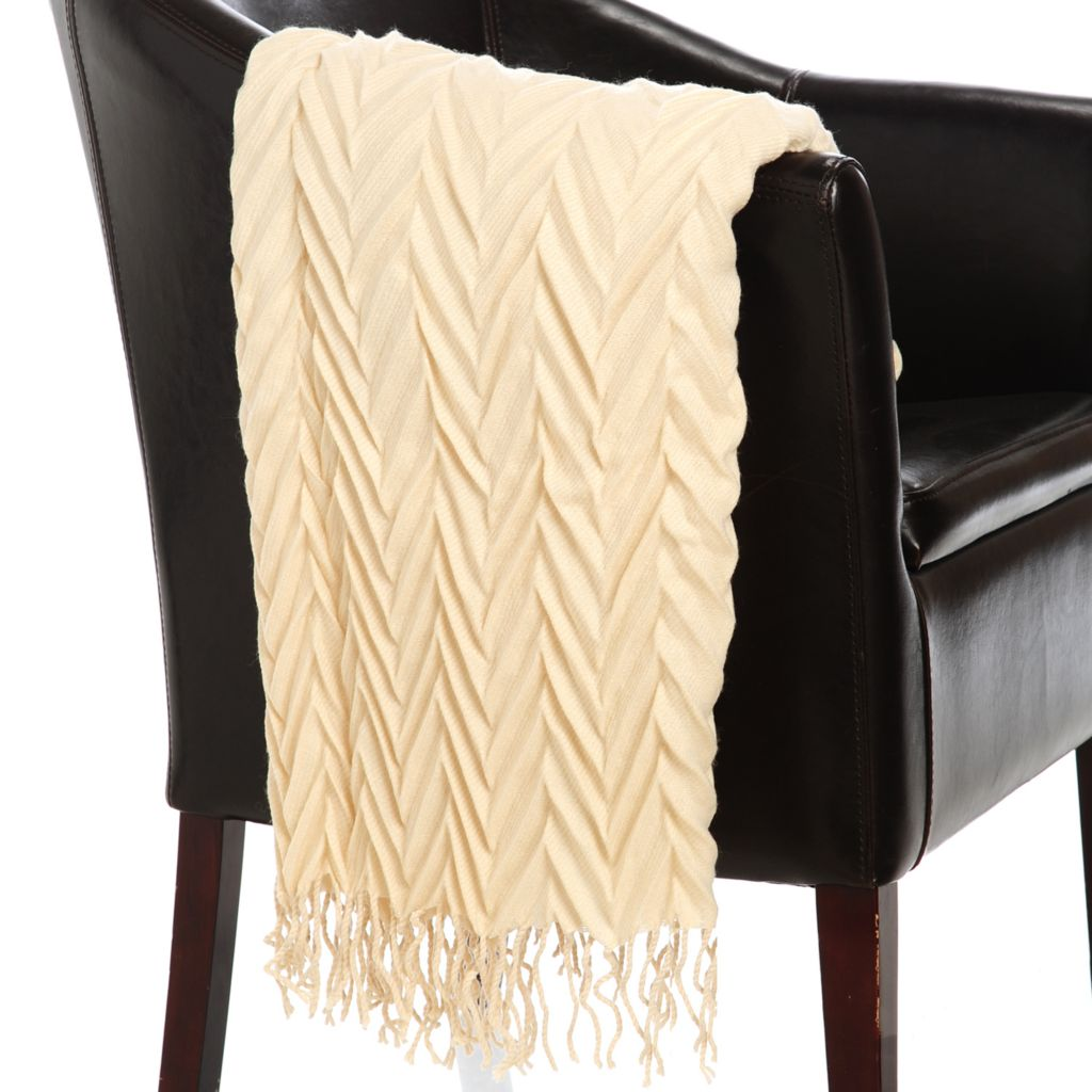 "437-614 - North Shore Linens™ 60"" x 42"" Acrylic Crinkle Chevron Throw"