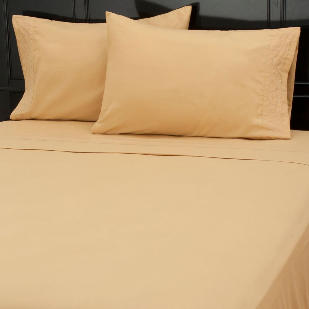 437-617 - Cozelle® Microfiber Scroll Embroidered Four-Piece Sheet Set