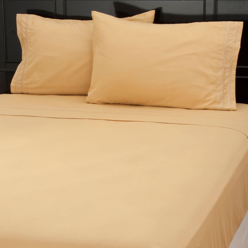 437-619 - Cozelle® Four-Piece Microfiber Chain Link Embroidered Sheet Set