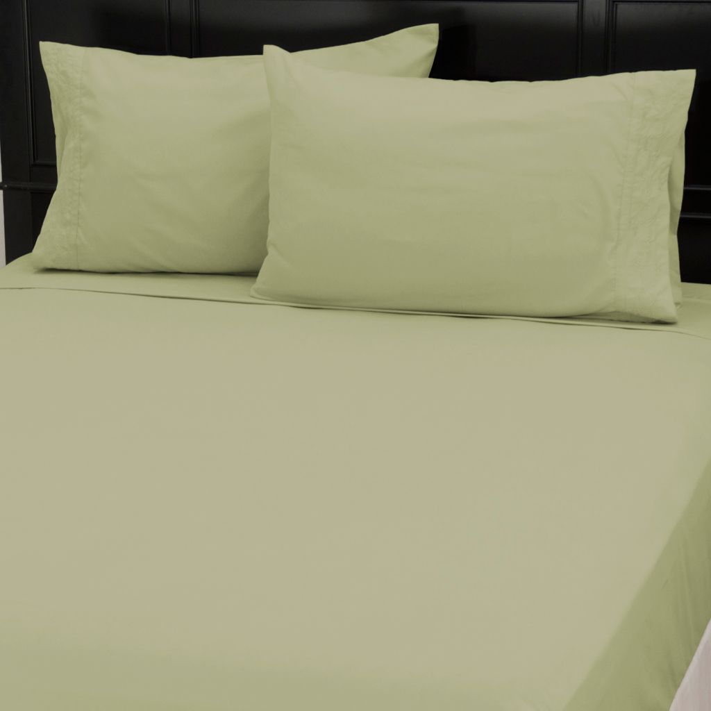 437-620 - Cozelle® Microfiber Lotus Leaf Embroidered Four-Piece Sheet Set