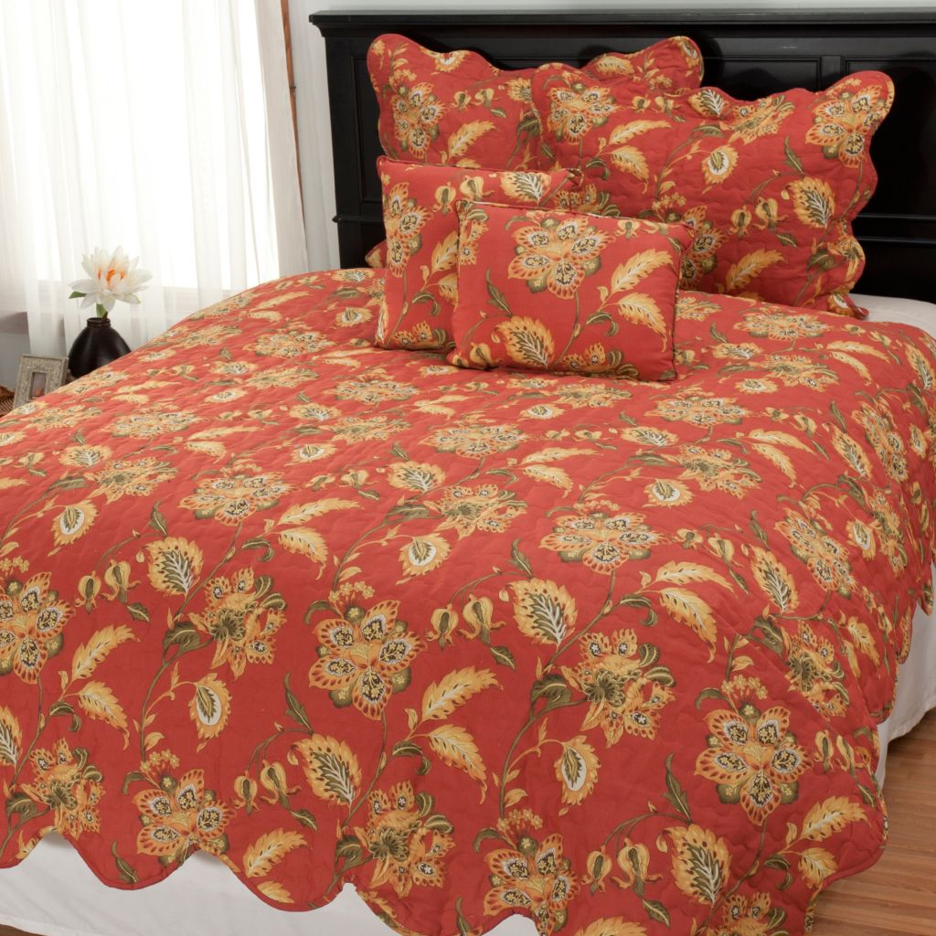 437-629 - North Shore Linens™ Jacobean Floral Five-Piece Quilt Set