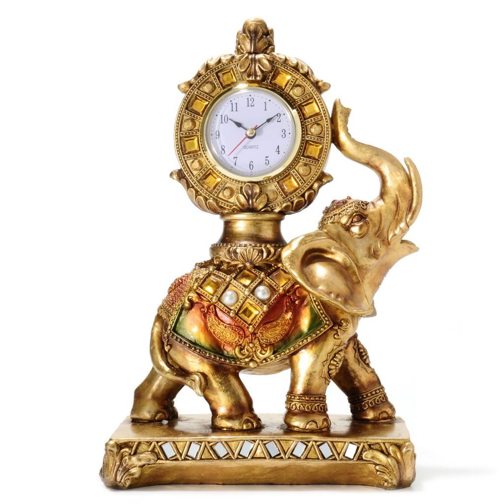 "437-683 - Style at Home with Margie 12"" Golden Jeweled Elephant Accent Clock"