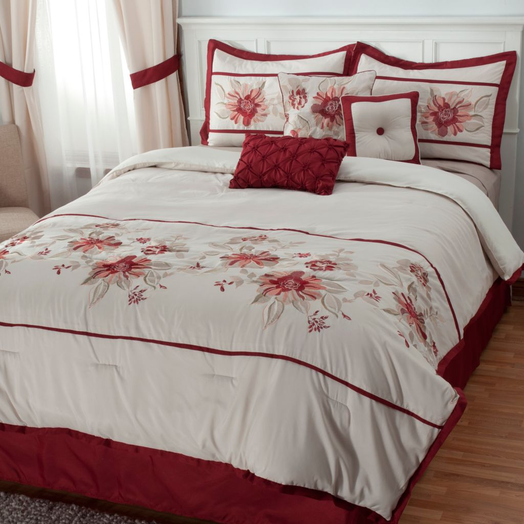 437-694 - North Shore Linens™ Seven-Piece Floral Embroidered Bedding Ensemble