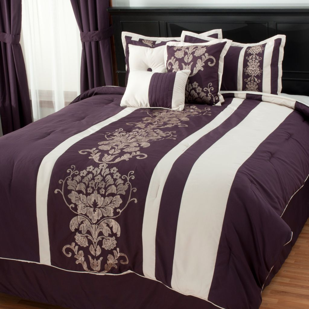 437-697 - North Shore Linens™ Seven-Piece Damask Embroidered Bedding Ensemble