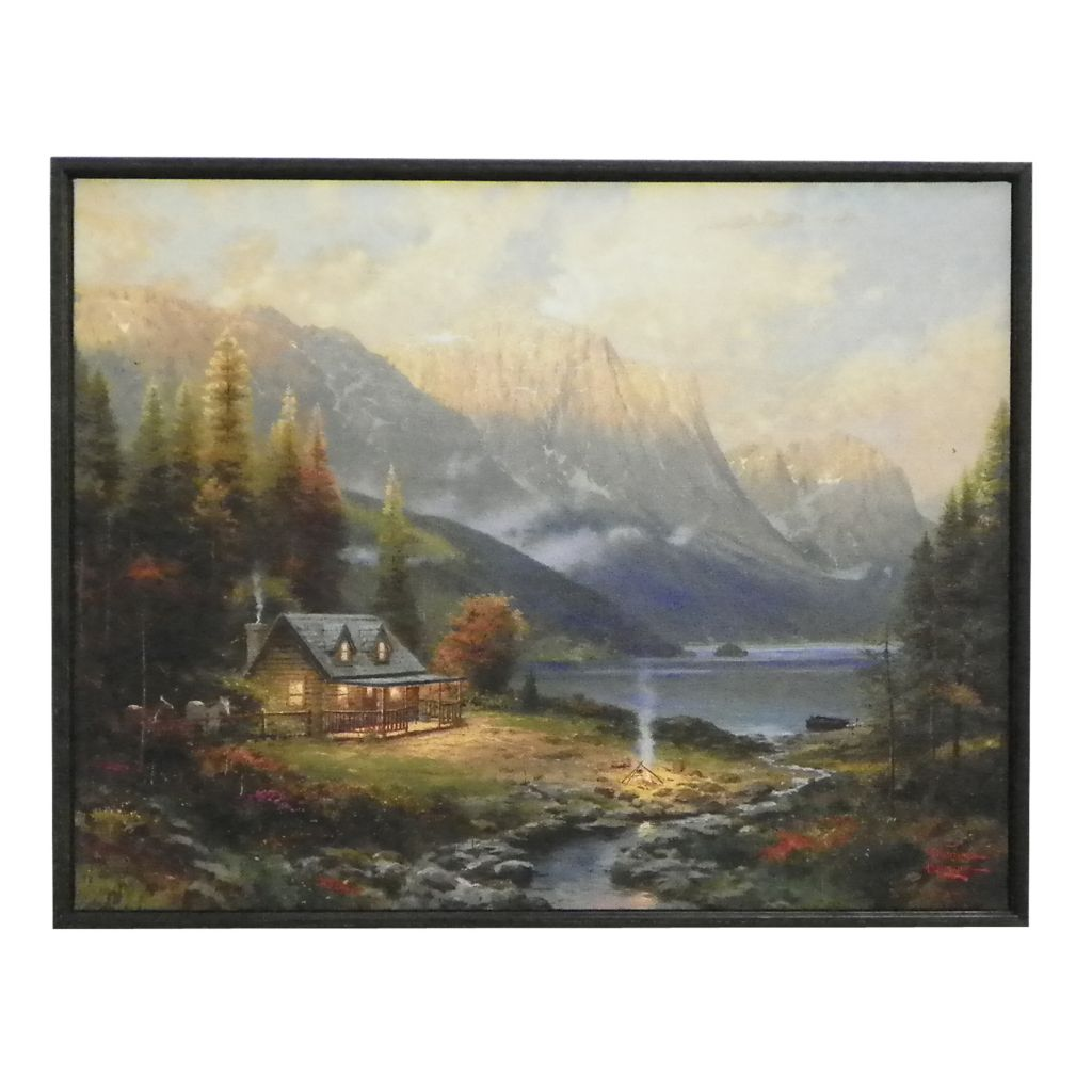 "437-712 - Thomas Kinkade ""Beginning of a Perfect Day"" Shadow Boxed Hardboard Canvas"