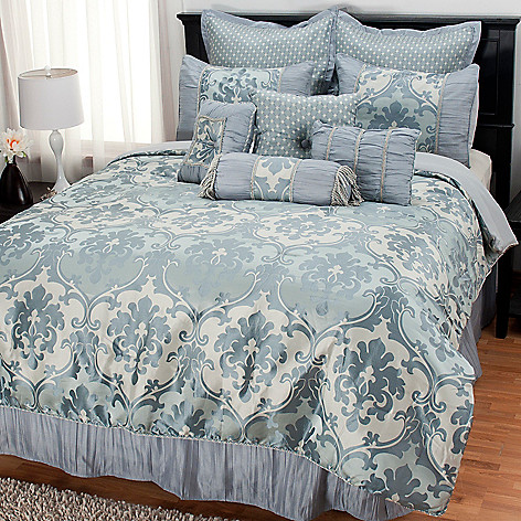 437-720 - North Shore Linens™ 10-Piece Brocade Jacquard Bedding Ensemble