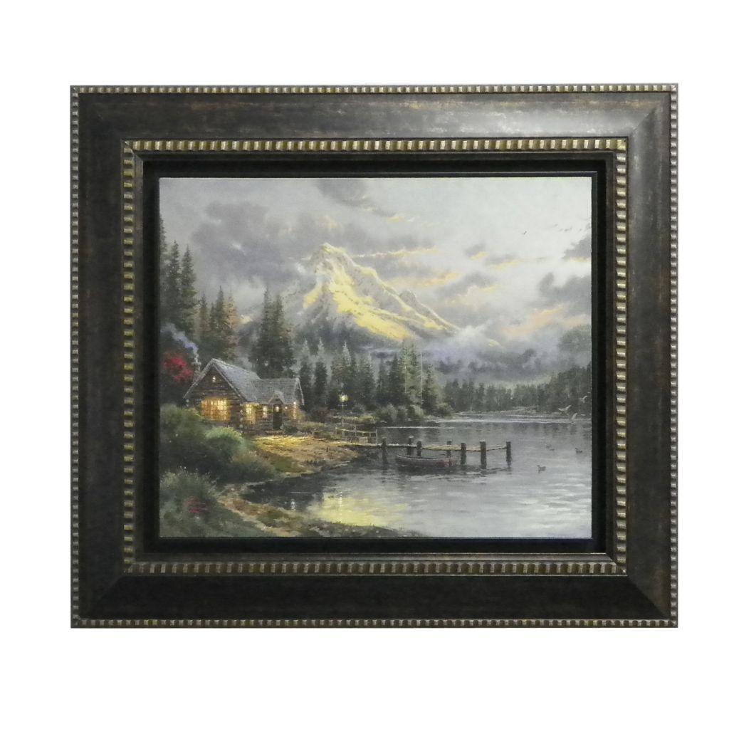 "437-722 - Thomas Kinkade ""Lakeside Hideaway"" Framed Floating Textured Print"