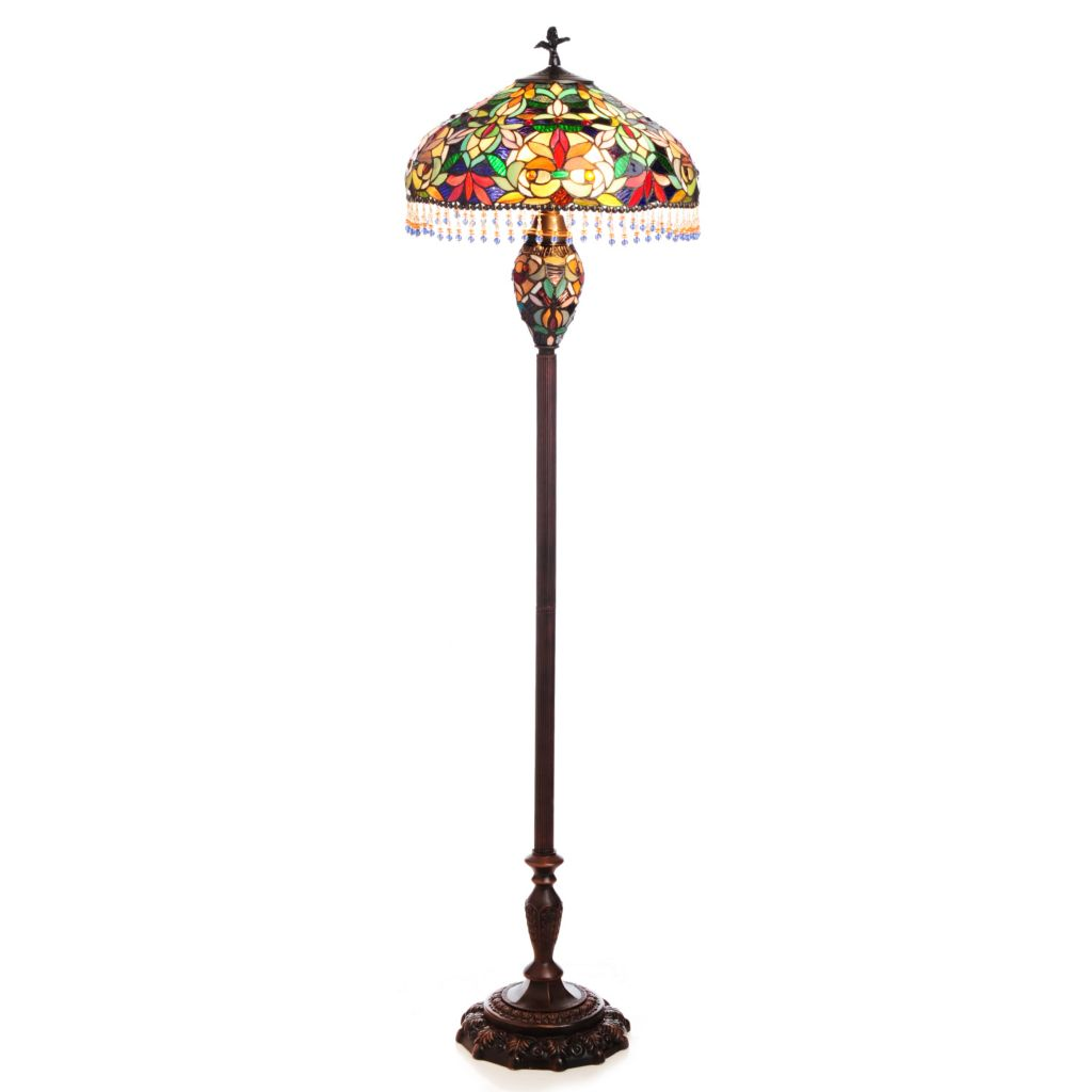 "437-742 - Tiffany-Style 62.5"" Crowning Glory Beaded Stained Glass Floor Lamp"