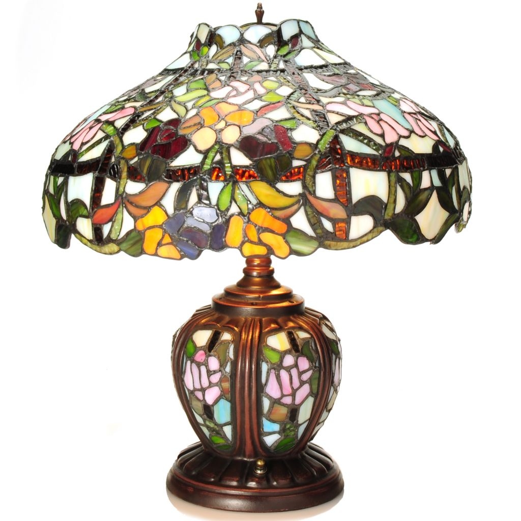 "437-748 - Tiffany-Style 17.5"" Spring Hill Double Lit Stained Glass Table Lamp"