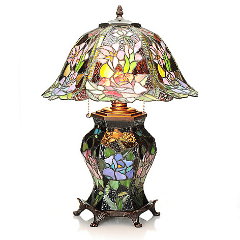 437-749 - Tiffany-Style 21.5'' Midnight Garden Double Lit Stained Glass Table Lamp