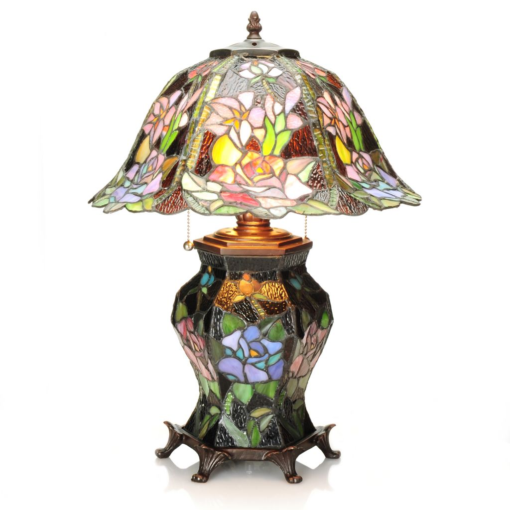 "437-749 - Tiffany-Style 21.5"" Midnight Garden Double Lit Stained Glass Table Lamp"