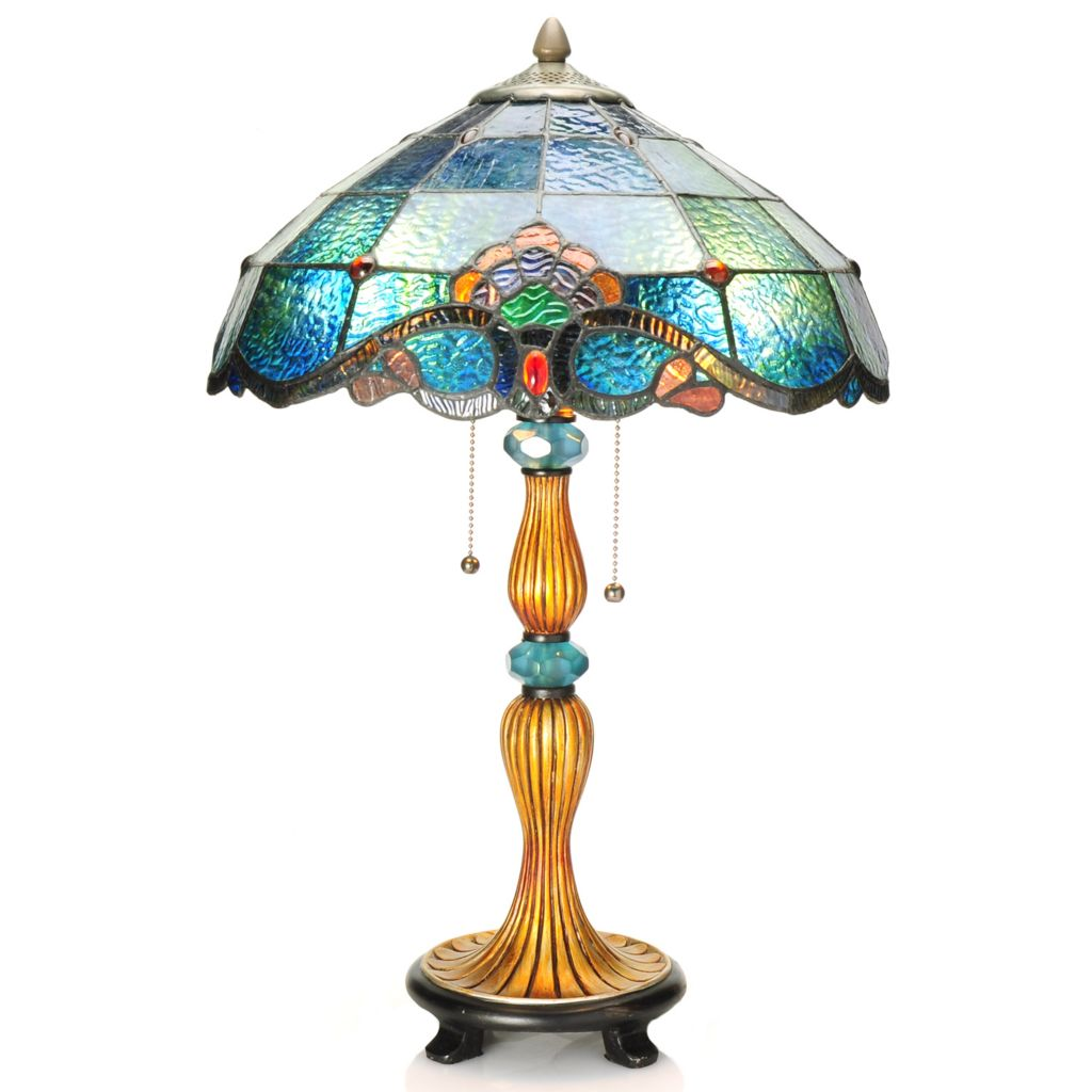 "437-750 - Tiffany-Style 22.75"" Allistar Stained Glass Table Lamp"