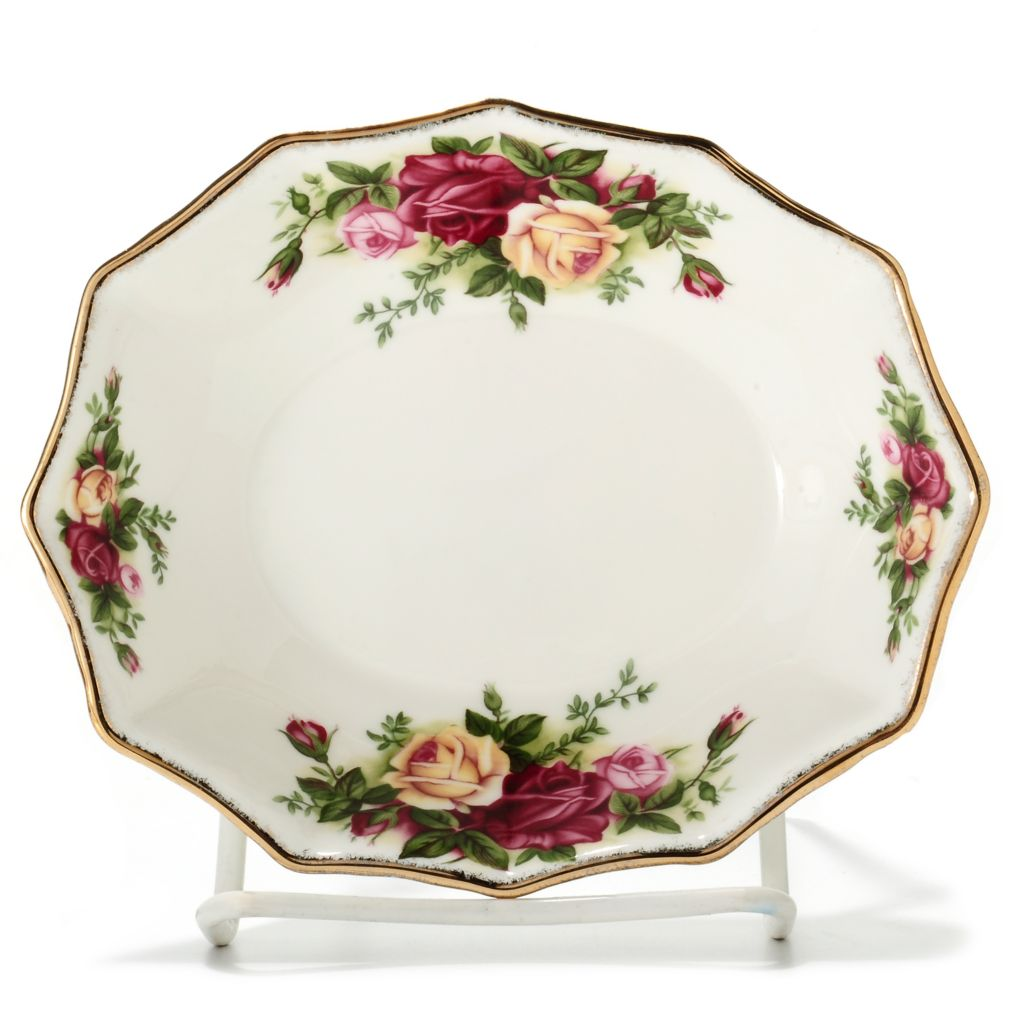 "437-769 - Royal Albert® Old Country Roses 5.5"" Bone China Oval Sweet Dish"