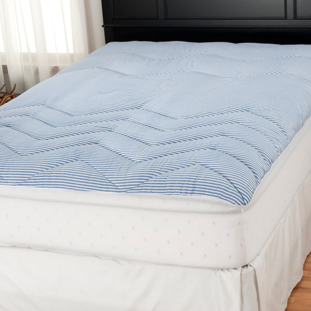 "437-780 - Cozelle® 2"" 200TC Zoned Ticking Stripe Mattress Pad"