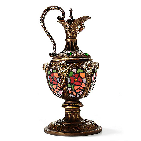 437-809 - Tiffany-Style 14'' Grecian Ewer Stained Glass Accent Lamp
