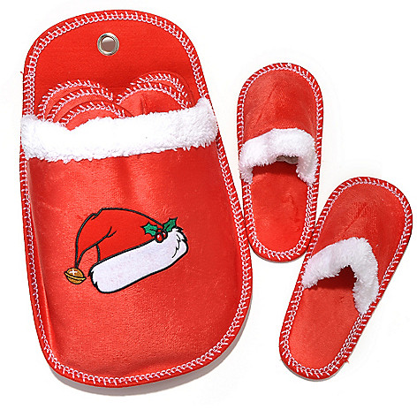 437-839 - North Shore Linens™ Set of Six Microfleece Holiday Slippers w/ Holder