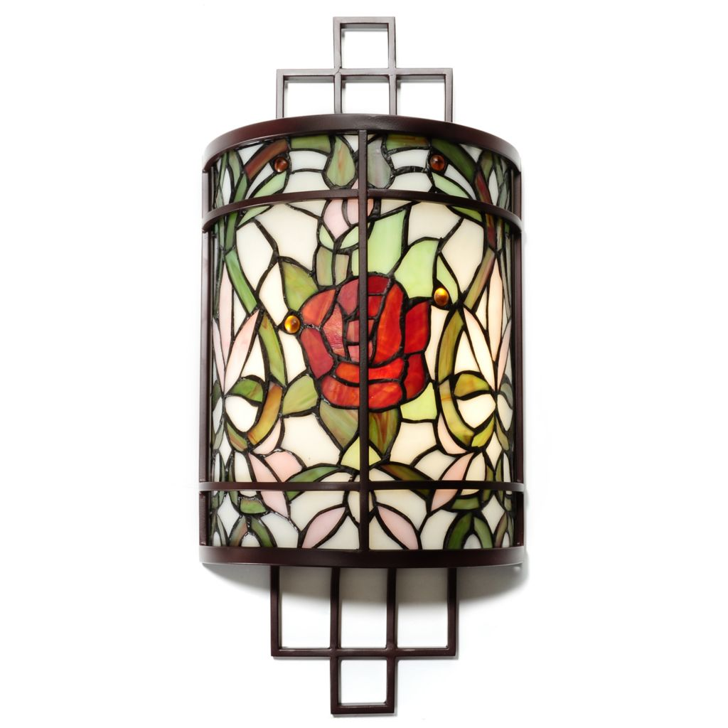 "437-846 - Tiffany-Style 20.25"" Autumn Rose Stained Glass Wireless Wall Sconce"