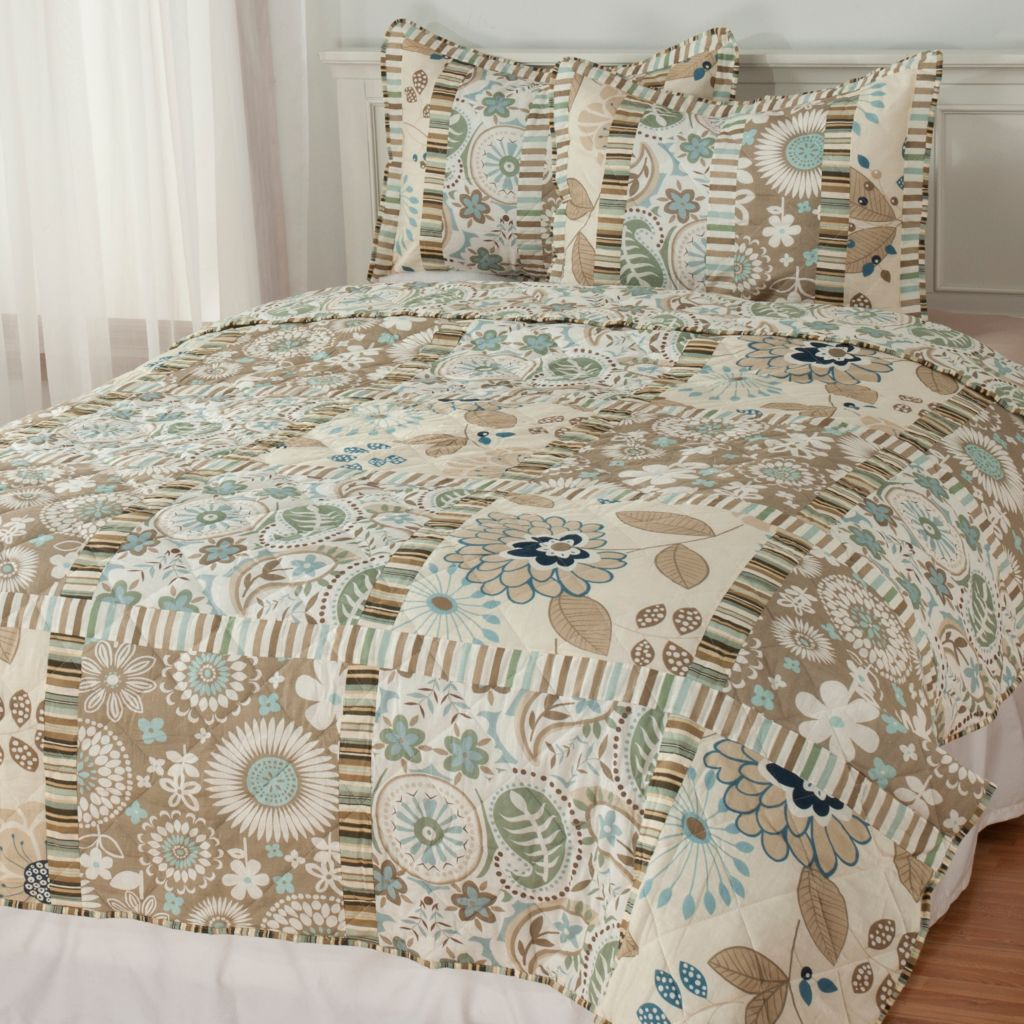 437-870 - North Shore Linens™ Three-Piece Floral & Paisley Coverlet Set